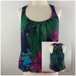 Express Sleeveless Blouse Size M Navy Green Pink